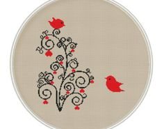 Birds on tree Counted cross stitch pattern door MagicCrossStitch
