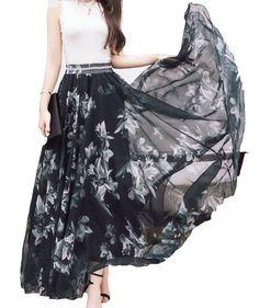 See Afibi Women Full/ankle Length Blending Maxi Chiffon Long Skirt Beach Skirt at Womens Clothing Center Bohemian Maxi Skirt, Long Chiffon Skirt, Beach Skirt, Summer Maxi, Print Chiffon, Women's Fashion Dresses, Skirt Fashion, Woman Dresses, Anklets