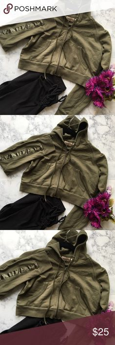 MKM Designs Army Green Crop Hoodie Jacket Cute trendy Crop Jacket . 60 % Cotton 40% Polyester. Still in good conditions MKM Designs Tops Sweatshirts & Hoodies