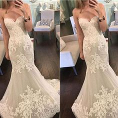 Popular Sweetheart Strapless Mermaid Lace Tulle Cheap Wedding Dresses, WD0199 The wedding dresses are fully lined, 4 bones in the bodice, chest pad in the bust, lace up back or zipper back are all ava