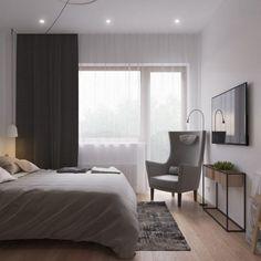 skandinavisch-einrichten-kleines-schlafzimmer-grau-dunkle-vorhänge-einbauspots