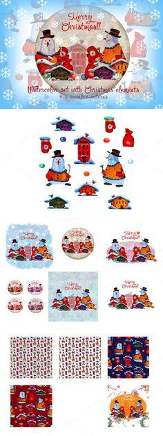 Watercolor Christmas set.. Christmas Icons. $20.00