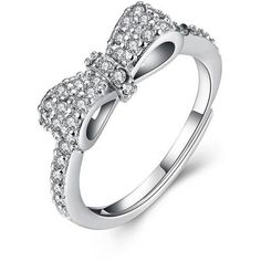 Rings Sterling Silver CZ bowed Ring ($6) ❤ liked on Polyvore featuring jewelry, rings, cz jewellery, bow ring, sterling silver jewelry, sterling silver cz jewelry and cz jewelry