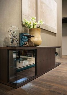 Lema furniture glance low cabinet insitu haute living Low Cabinet, Office Interior Design, Wood Pieces, Contemporary Furniture, Sideboard, Entryway Tables, Glass Doors, Milan Design, Home Decor