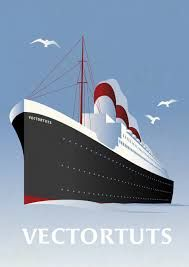 Image result for cruise ship vector retro