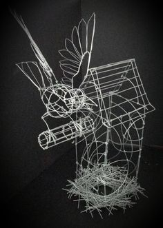 nesting house wire artwork