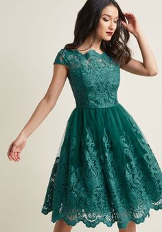 Chi Chi London Exquisite Elegance Lace Dress in Lake in 16 - Cap Fit & Flare Knee Length by Chi Chi London from ModCloth