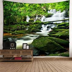 Waterfall Forest Waterproof Wall Tapestry -