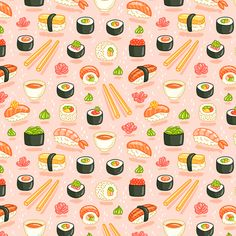 Sushi and rolls fabric by stolenpencil on Spoonflower - custom fabric