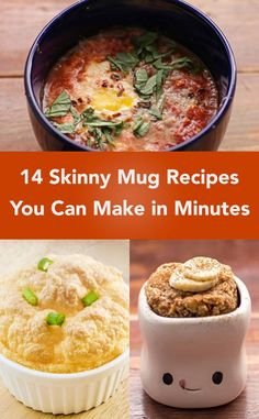 14 Skinny Mug Recipes You Can Make in Minutes including Banana Cake, Ham and Cheese Omelet, Peanut Butter Cake, Berry Crisp, Snickerdoodle Cake, Peach Cobbler, Weight Watchers Egg Mug, and more!: