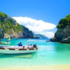 The lovely beach of #Paleokastritsa #Corfu  Photo credits: @barbatiwatersportscorfu