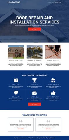 Roofing repair and installation service landing page - Landing Pages - Create a landing pages with drag and drop. Easily make your landing page in 3 minutes. - Roofing repair and installation service landing page designs Landing Page Inspiration, Website Design Inspiration, Layout Inspiration, Landing Page Builder, Landing Page Design, Blog Layout, Web Layout, Layout Design, Digital Marketing Strategist