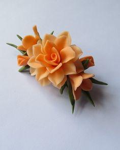 Orange Cold Porcelain Floral Pin
