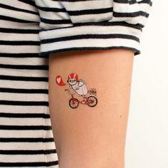 Pug On Bike Temporary Tattoo   Illustrated by Gemma Correll   Tattly.com