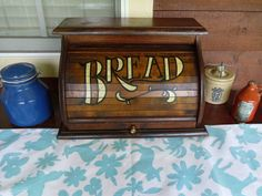 Vintage Wood Roll Top Bread Box. Original Stain And Paint