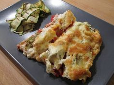 Baked cauliflower and broccoli cannelloni with griddled courgettes