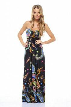 Amazon.com: AX Paris Strapless Paisley Dress: Clothing