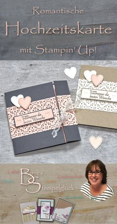 """Today I would like to introduce you to a wedding card that I have created with the """"Herzlich Embroidered"""" cutting dies and the """"Garden of Love"""" stamp set from Stampin 'Up! Valentines Day Decorations, Valentine Day Cards, Wedding Cards, Wedding Invitations, Stampin Up Karten, Decor Inspiration, Valentines Day Background, Love Stamps, Stamping Up"""
