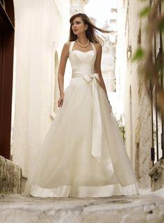 Sweetheart Wedding Dress With Purple Sweetheart Neckline White