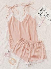 To find out about the Lace Trim Satin Cami Pajama Set at SHEIN, part of our latest Night Sets ready to shop online today! Sexy Pajamas, Cute Pajamas, Satin Pajamas, Pyjamas, Summer Pajamas, Lingerie Shorts, Lingerie Outfits, Women Lingerie, Satin Pyjama Set