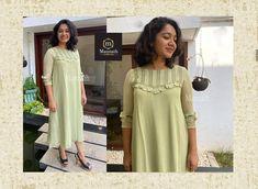 Plain Kurti, Churidhar Designs, Chiffon, Neck Design, Dresses, Silk Fabric, Vestidos, Sheer Chiffon, Dress