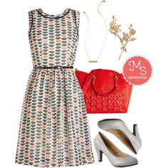 In this outfit: Kiss Is It Dress, Kitty Chat Necklace, Fleur-ever and a Day Hair Pin Set, Retro and Go-Go Purse, In a Classic of Its Own Heel in Grey #dresses #fall #cute #outfits #ootd #heels #style #ModCloth #ModStylist #fashion