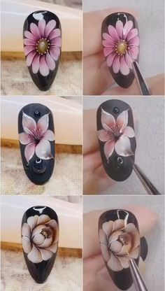 Pin by Marlena Nowak on Kwieciste paznokcie [Video] in 2020 Rose Nail Art, Floral Nail Art, Rose Nails, Gel Nail Art, Nail Art Diy, Gel Nails, 3d Flower Nails, Nail Art Designs Videos, Nail Design Video