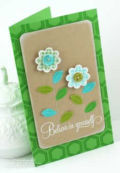 Flower card- I like the pattered background  and the draft paper on top