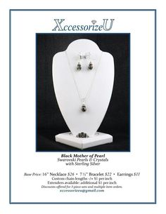 Black Mother of Pearl Jewelry Set
