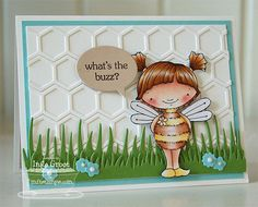Patterned Paper: My Favorite Things Stamps New Product Tour Day II, Bee Happy! card by Inge Groot