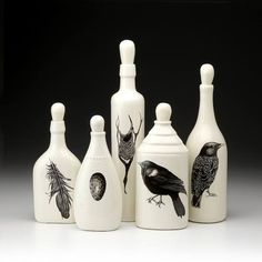 Black and white - birds - egg - feathers - bottles - ceramic