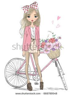 Hand drawn beautiful, cute girl stands near bicycle with a basket full of flowers. Pictures To Paint, Cute Pictures, Freckles Girl, Fashion Illustration Dresses, Cute Cartoon Girl, Cute Girl Wallpaper, Girl Standing, Kids Prints, Cute Girls