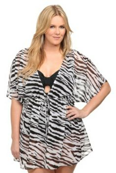 Torrid Plus Size Black And White Zebra Chiffon Cover-Up Kimono Swim Cover Up, Swimsuit Cover Ups, Love Fashion, Plus Size Fashion, Style Fashion, Moda Zara, Chiffon Cover Up, White Zebra, Black White
