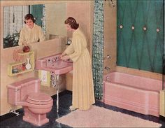 1950s Pink Bathroom; This looks very close to the bathroom in the new house. It's vintage but will be changed eventually. :o)