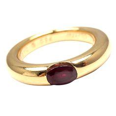 Cartier 18K Yellow Gold Ellipse Ruby Earring