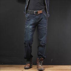 >> Click to Buy << Men Denim Trousers Multi-Pockets Spliced Plus Size Jeans Spring Autumn Casual Vintage Men'S Pants Middle Age Pant Cotton A3263 #Affiliate