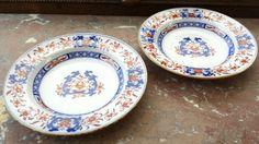 2 Pair Antique 19th Century Minton Bowls Dishes Soup Imari Pattern Blue Orange
