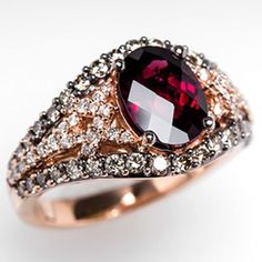 LeVian Ring Rhodolite Garnet & Diamonds in Rose Gold -birthstone Garnet Jewelry, Gems Jewelry, Jewelry Box, Unique Jewelry, Jewelry Accessories, Fine Jewelry, Jewelry Design, Jewlery, Designer Jewellery