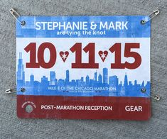 Race bib Save the Dates from Your Story Invites! Great Chicago Marathon look Printed on real Tyvek too cool :) #racebib #savethedate