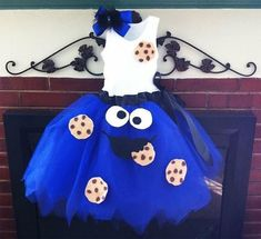blue tulle cookie monster dress