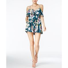 Guess Paige Off-The-Shoulder Floral-Print Romper ($98) ❤ liked on Polyvore featuring jumpsuits, rompers, field of flowers, off shoulder romper, white off the shoulder romper, guess romper, playsuit romper and flower romper