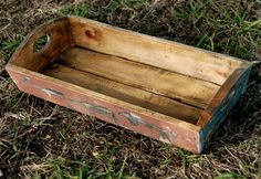 "Distressed Wood Crates with Carved Handles (23"" long) $32"