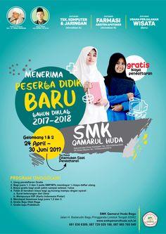Poster Sekolah Client SMK Qamarul Huda - Lombok NTB Brosure Design, Flyer Design, School Brochure, Business Brochure, Presentation Magazine, Ads Creative, School Posters, Brochure Layout, Corporate Flyer