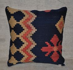 hand woven vintage kilim pillow cover - free shipment with UPS - 01309-13