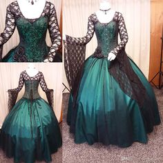 Vintage Black And Green Gothic Wedding Dress 2018 Long Sleeve Steampunk Victorian Whitby Goth Lace Up Plus Size Wedding Bridal Gown Overskirt Evening Dress Mermaid Wedding Dress Country Wedding Dress Wedding Dresses 2018, Black Wedding Dresses, Country Wedding Dresses, Prom Dresses, Black Weddings, Wedding Black, Dresses Uk, Bridesmaid Dresses, Pretty Dresses