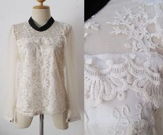 Ethnic Hippie BOHO gypsy SHEER Embroidered LACE SCALLOP SHIRT Blouse TOP XS S