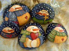Painted snowmen rocks
