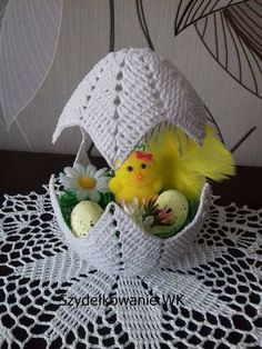 "Photo from album ""Валя-Валентина on Crochet Cord, Crochet Fall, Easy Crochet, Crochet Chicken, Easter Crochet Patterns, Border Embroidery Designs, Easter Egg Crafts, Handmade Ornaments, Crochet Gifts"
