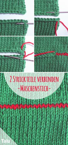 Mesh stitch / knitting stitch - this is how you connect two knitted pieces- Maschenstich/Strickstich – so verbinden Sie zwei Strickteile Combine two knitted pieces – stitch stitch / knitting stitch – instructions – Talu. Loom Knitting Projects, Loom Knitting Patterns, Knitting Stitches, Free Knitting, Baby Knitting, Stitch Patterns, Octopus Crochet Pattern, Crochet Diy, Knit Stitches