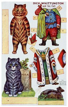 Cats in Art and Illustration: Dick Whittington and his Cat paper dolls. Nursery Rhyme Characters, Louis Wain Cats, Paper Art, Paper Crafts, Foam Crafts, Paper Dolls Printable, Paper Animals, Paperclay, Vintage Paper Dolls